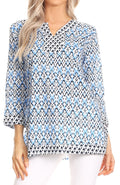 Sakkas Oana 3/4 Sleeve Split Neck Tribal Print Tunic#color_Sky Blue