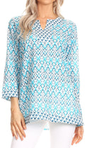Sakkas Oana 3/4 Sleeve Split Neck Tribal Print Tunic#color_Turquosie