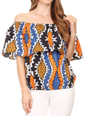 Sakkas Amai Off-shoulder Ruffle Ankara Wax African Dutch Casual Blouse Top#color_Black blue/tile