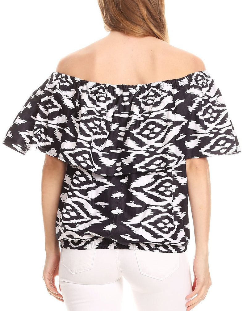 Sakkas Amai Off-shoulder Ruffle Ankara Wax African Dutch Casual Blouse Top