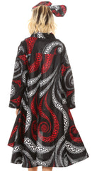 Sakkas Sol Womens Summer Swing Loose Dress African Print Roll up Sleeve Button