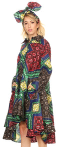Sakkas Sol Womens Summer Swing Loose Dress African Print Roll up Sleeve Button#color_32-Multi