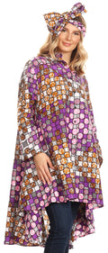 Sakkas Sol Womens Summer Swing Loose Dress African Print Roll up Sleeve Button#color_39-WhiteMulti