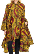 Sakkas Sol Womens Summer Swing Loose Dress African Print Roll up Sleeve Button#color_407-yellow/burg