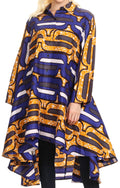 Sakkas Sol Womens Summer Swing Loose Dress African Print Roll up Sleeve Button#color_418-Blue/yellow