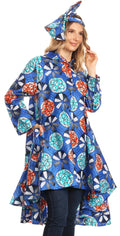 Sakkas Sol Womens Summer Swing Loose Dress African Print Roll up Sleeve Button#color_42-Multi
