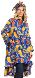 Sakkas Sol Womens Summer Swing Loose Dress African Print Roll up Sleeve Button#color_44-BlueYellow