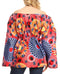Sakkas Mela Women's Long Sleeve Peplum Off Shoulder Blouse Top in African Ankara#color_131-Multi