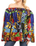 Sakkas Mela Women's Long Sleeve Peplum Off Shoulder Blouse Top in African Ankara#color_144-Multi