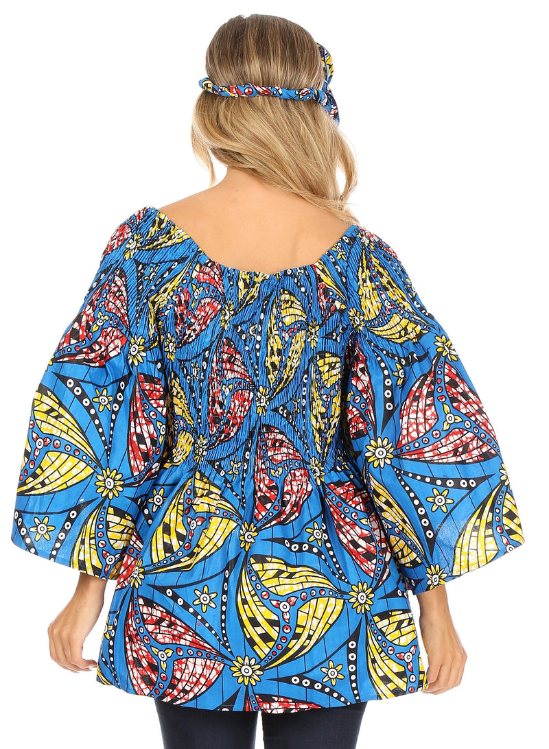 Sakkas Mela Women's Long Sleeve Peplum Off Shoulder Blouse Top in African Ankara