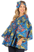 Sakkas Mela Women's Long Sleeve Peplum Off Shoulder Blouse Top in African Ankara#color_2291-62-Multi