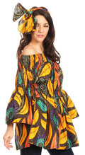 Sakkas Mela Women's Long Sleeve Peplum Off Shoulder Blouse Top in African Ankara#color_2229-50-Multi