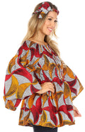 Sakkas Mela Women's Long Sleeve Peplum Off Shoulder Blouse Top in African Ankara#color_2291-65-Multi