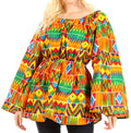 Sakkas Mela Women's Long Sleeve Peplum Off Shoulder Blouse Top in African Ankara#color_43-Multi