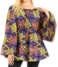 Sakkas Mela Women's Long Sleeve Peplum Off Shoulder Blouse Top in African Ankara#color_49-Multi