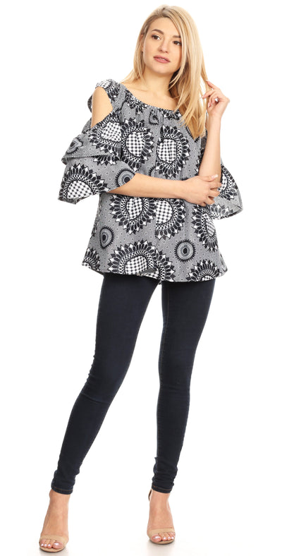 group-26-BlackWhite (Sakkas Miranda Women's African Ankara Cold Shoulder Short Sleeve Flare Top Blouse)