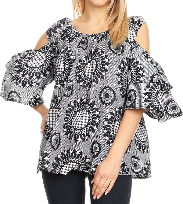 Sakkas Miranda Women's African Ankara Cold Shoulder Short Sleeve Flare Top Blouse#color_26-BlackWhite