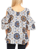 Sakkas Miranda Women's African Ankara Cold Shoulder Short Sleeve Flare Top Blouse