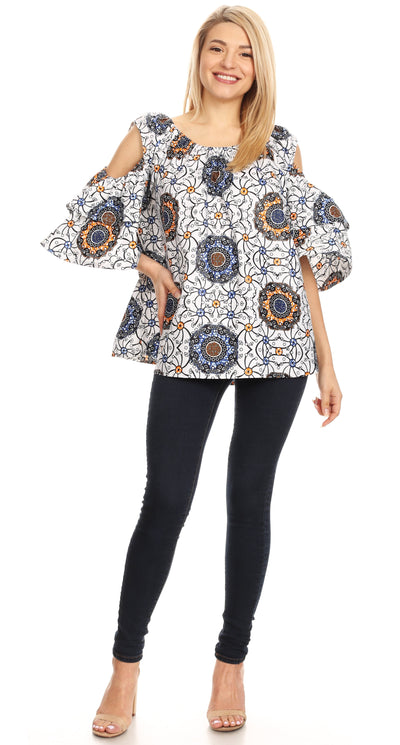 group-31-Multi (Sakkas Miranda Women's African Ankara Cold Shoulder Short Sleeve Flare Top Blouse)