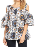 Sakkas Miranda Women's African Ankara Cold Shoulder Short Sleeve Flare Top Blouse#color_31-Multi