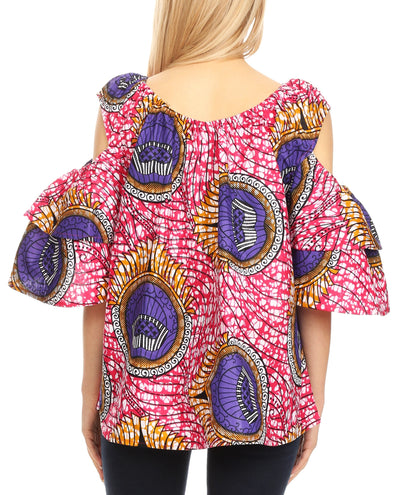 group-34-PinkWhite (Sakkas Miranda Women's African Ankara Cold Shoulder Short Sleeve Flare Top Blouse)