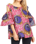 Sakkas Miranda Women's African Ankara Cold Shoulder Short Sleeve Flare Top Blouse#color_34-PinkWhite