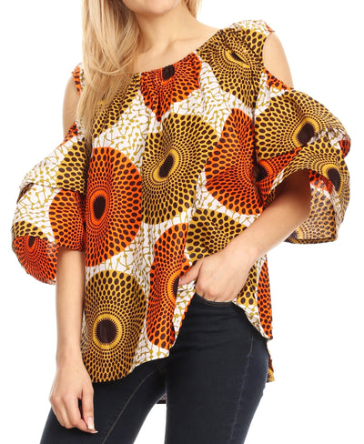 group-36-Multi (Sakkas Miranda Women's African Ankara Cold Shoulder Short Sleeve Flare Top Blouse)