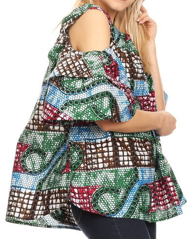 group-37-Multi (Sakkas Miranda Women's African Ankara Cold Shoulder Short Sleeve Flare Top Blouse)