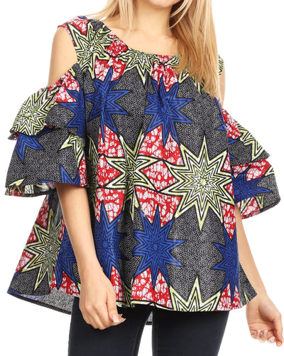 group-38-Multi (Sakkas Miranda Women's African Ankara Cold Shoulder Short Sleeve Flare Top Blouse)