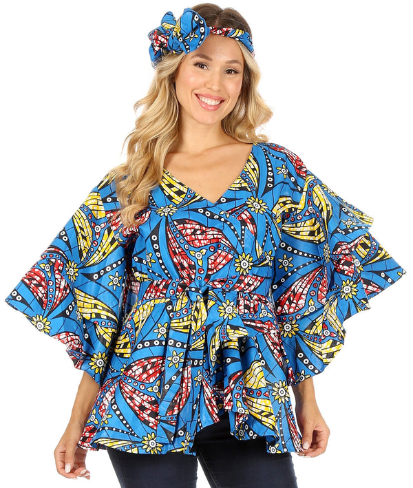 Sakkas Antonella Women's Ruffle Short Sleeve African Ankara V neck Wrap Top Blouse#color_62-Multi