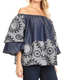Sakkas Desta Off-shoulder Tent Top Blouse on Chambray and Wax African Ankara Print