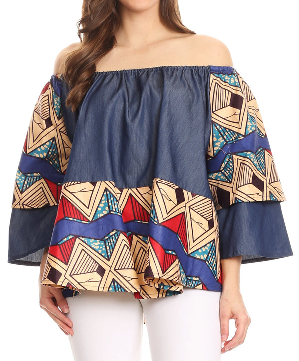 Sakkas Desta Off-shoulder Tent Top Blouse on Chambray and Wax African Ankara Print#color_416-chambray/sand