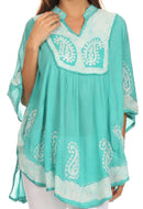 Sakkas  Amori V-Neck Embroidery Poncho Top / Cover Up