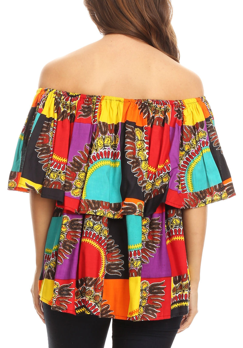 Sakkas Azra Casual Colorful African Dashiki Off-Shoulder Blouse Top Flowy and Fun!