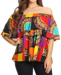 Sakkas Azra Casual Colorful African Dashiki Off-Shoulder Blouse Top Flowy and Fun!#color_Multi-Dashiki