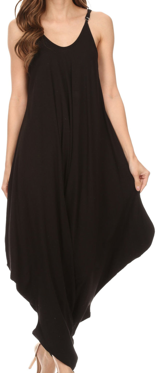 Sakkas Ganesa Sleeveless Spaghetti Strap Long Handkerchief Sides Blouse Top Shirt#color_Black