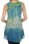 Sakkas Ombre Floral Tie Dye Flared Hem Sleeveless Tunic Blouse#color_Blue / Cream