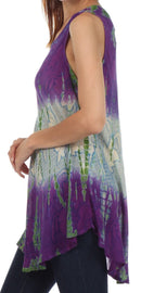 Sakkas Ombre Floral Tie Dye Flared Hem Sleeveless Tunic Blouse