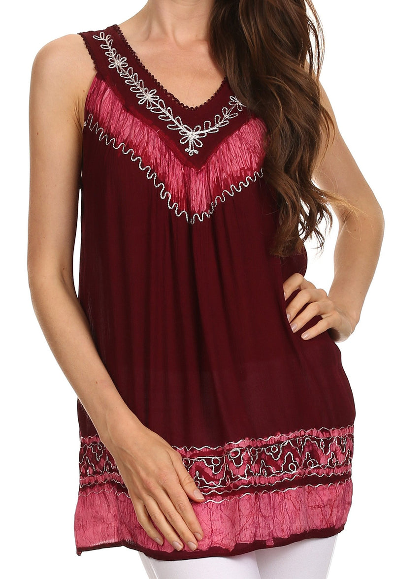 Sakkas Paradise Embroidered Relaxed Fit Blouse