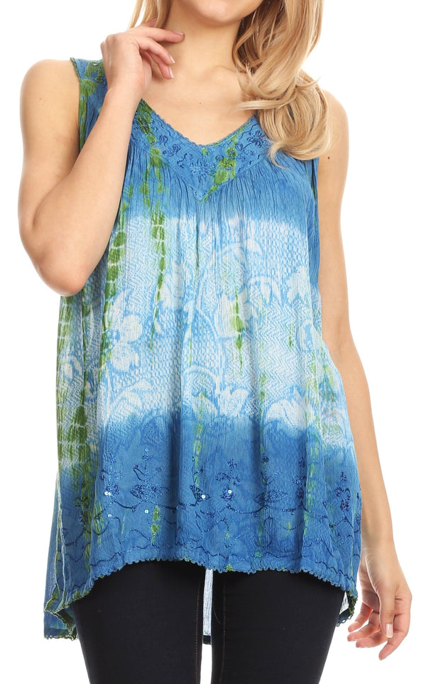 Sakkas Women's Tie Dye Floral Sequin Sleeveless Blouse#color_Blue / Cream
