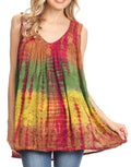 Sakkas Women's Tie Dye Floral Sequin Sleeveless Blouse#color_Brown