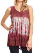 Sakkas Women's Tie Dye Floral Sequin Sleeveless Blouse#color_Brown / Cream