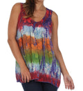 Sakkas Women's Tie Dye Floral Sequin Sleeveless Blouse#color_Coral