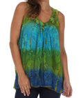 Sakkas Women's Tie Dye Floral Sequin Sleeveless Blouse#color_Green