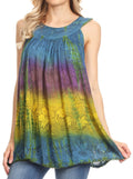Sakkas Women's Tie Dye Floral Sequin Sleeveless Blouse#color_Navy