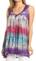 Sakkas Women's Tie Dye Floral Sequin Sleeveless Blouse#color_Purple