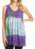 Sakkas Women's Tie Dye Floral Sequin Sleeveless Blouse#color_Purple / Cream