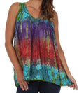 Sakkas Women's Tie Dye Floral Sequin Sleeveless Blouse#color_Turquoise