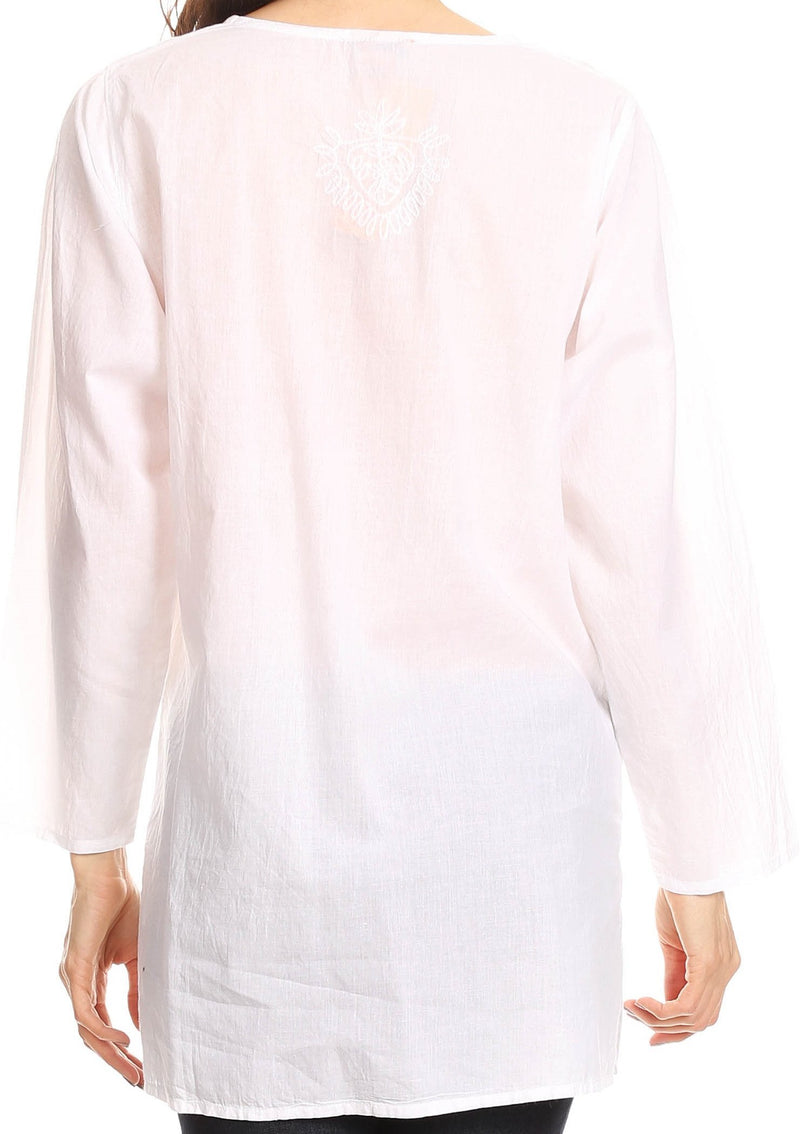 Sakkas Ariana Long Sleeve Button Up Blouse with Floral Embroidery