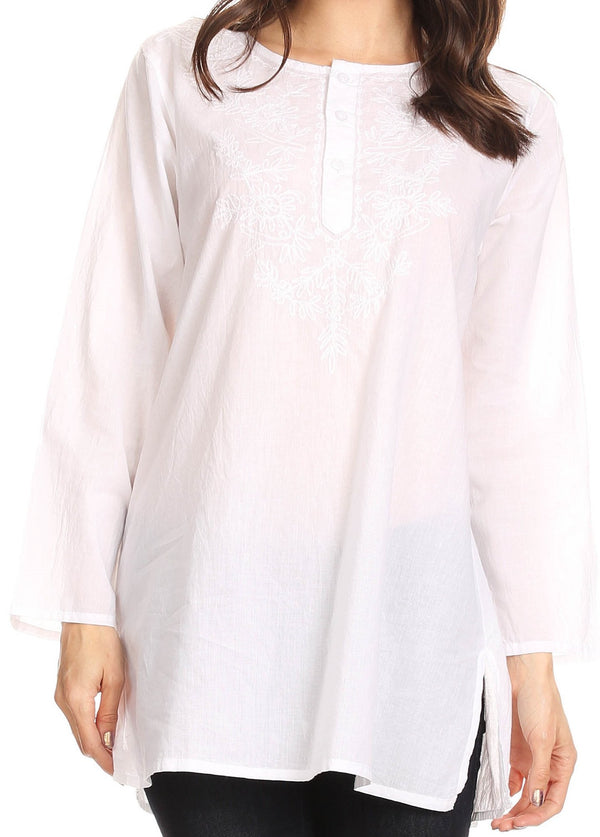 Sakkas Ariana Long Sleeve Button Up Blouse with Floral Embroidery#color_White